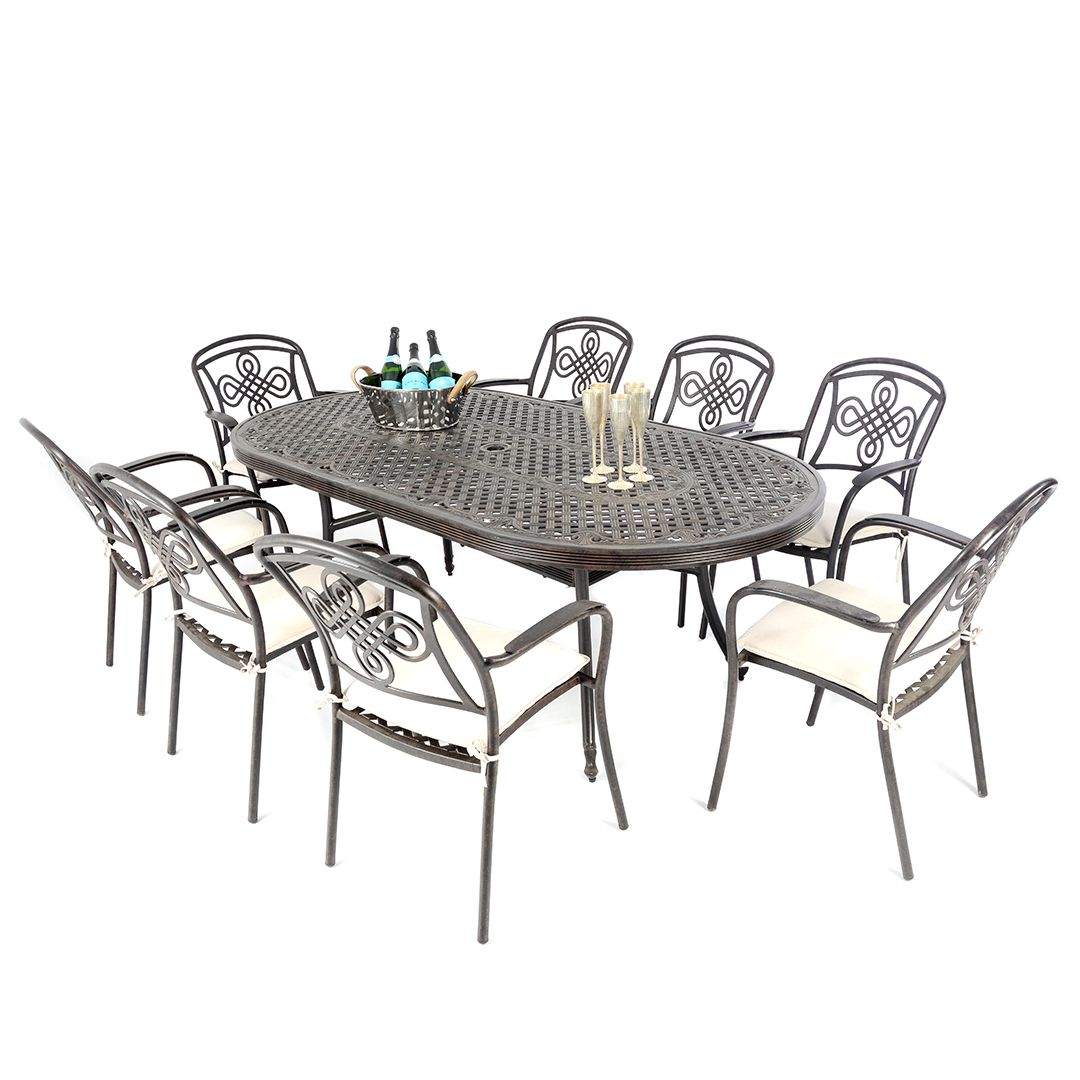 Cast Aluminium 213 X106cm Large Oval Table With 8 Brompton Chairs