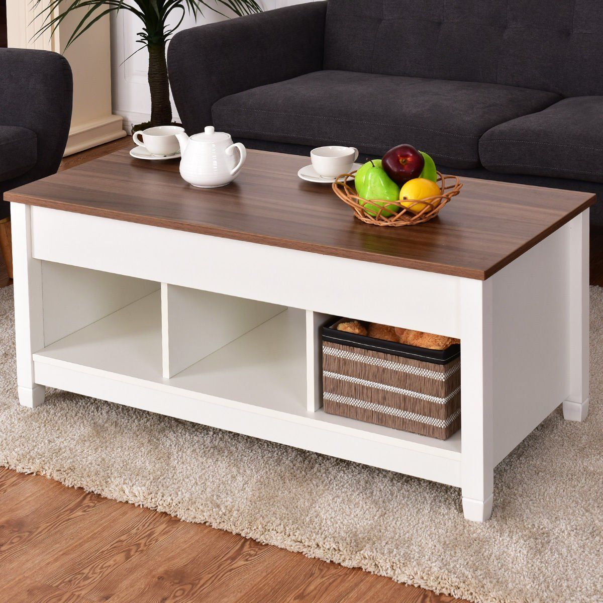Amazon com tangkula lift top coffee table modern living room furniture with hidden compartment and lift tabletop white home kitchen