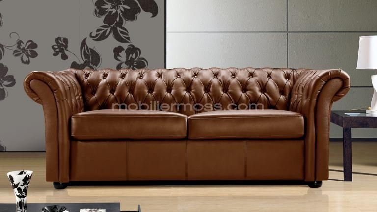 canape lit cuir design 3 places chesterfield malone blanc fonction ...