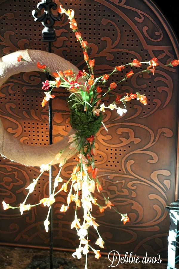 Wildflower and burlap wreath