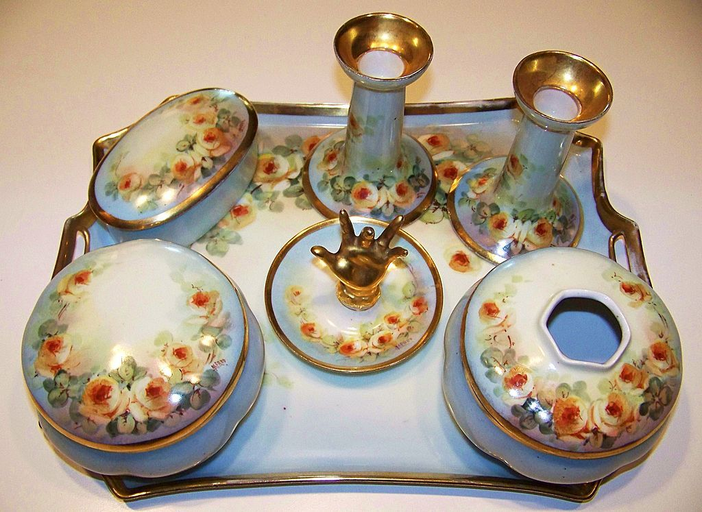1900 S Austria Hand Painted Petite Yellow Roses 10 Pc Matched