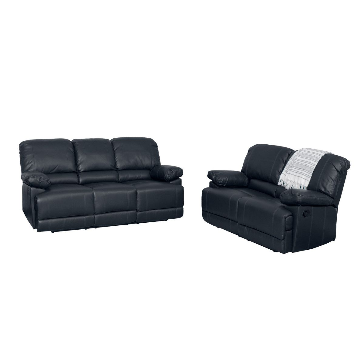 Corliving Lzy 301 Z2 Lea 2pc Black Bonded Leather Reclining Sofa Set Leather Sofa Set Leather Reclining Sofa Sofa And Loveseat Set