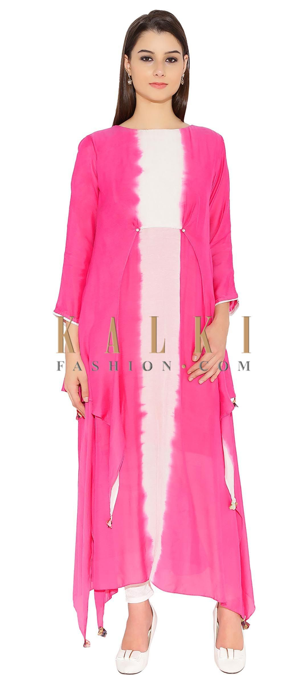 dd8efa59ea1 Fuchsia Pink Cotton Kurti With Two Tone And Diamond Tassels At End Only On  Kalki