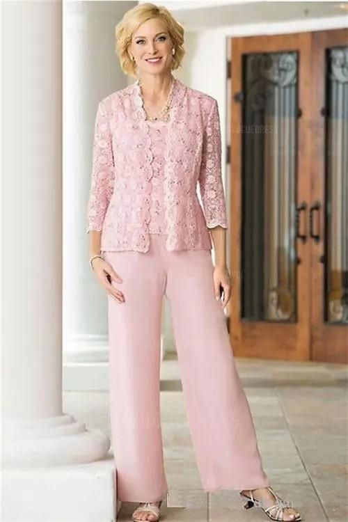 c603649361d2e Pink Lace Chiffon Mother Of the Bride Suit Three Pieces Long Sleeves Jacket  2018 Plus Size Women Prom Party Pant Suit Custom Made