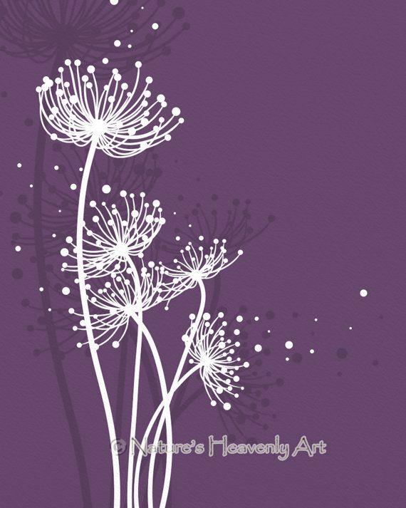 Purple Girls Room Dandelion Art Print 8 x 10, Flowing Circles Nature Wall Art, Home Office Decor (175)
