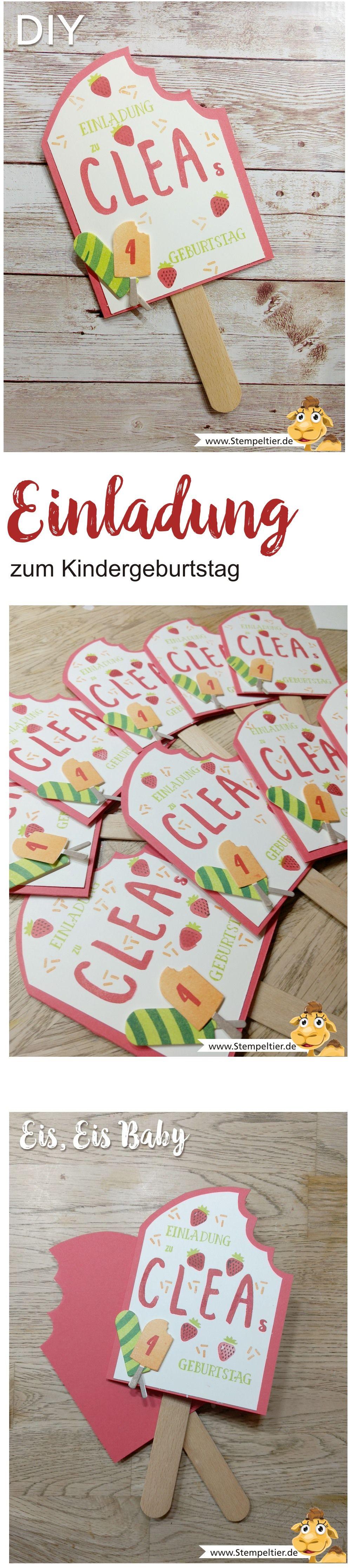 Stampin Up Blog Einladung Kindergeburtstag 4 Eis Eis Baby Icecream  Stempeltier Birthday Invitation