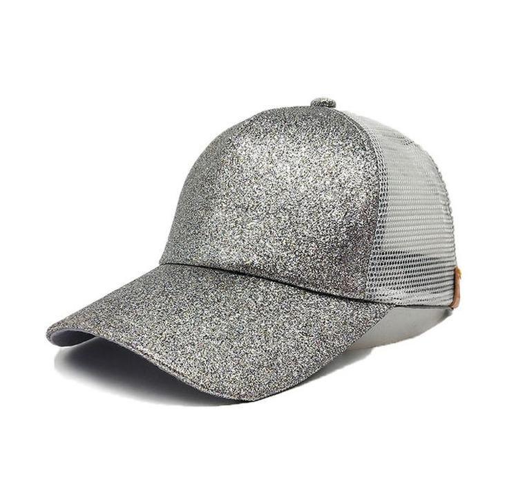 Silver Glitter Ponytail Baseball Cap  5b275df97a6