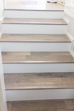 White Wood Steps Stairs And Beige Marble Floors