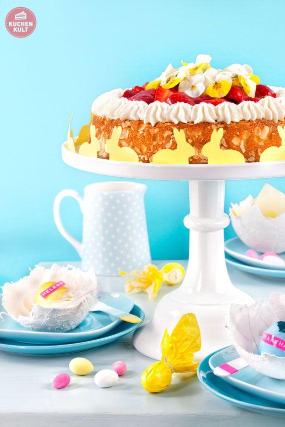 #Torte zu #Ostern verzieren, #Blumentopping und Häschen als Banderole, #flowertopping for #easter cakes, #rabbit #garland