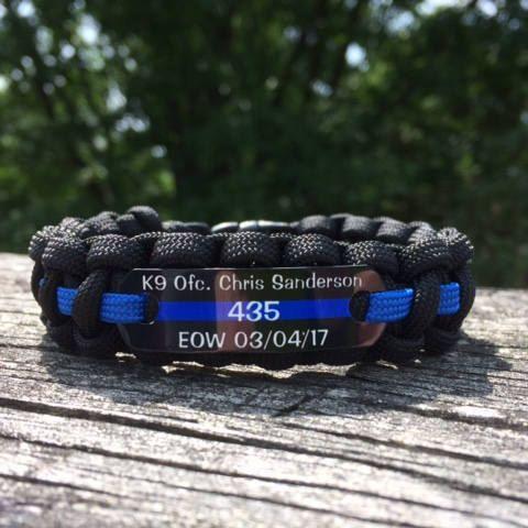 Custom K9 Police Officer Bracelet Thin Blue Line Paracord Gifts