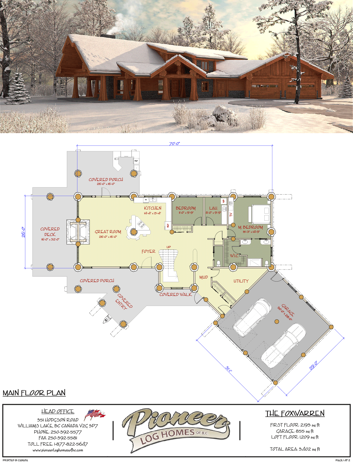 Fox Warren Pioneer Log Homes Midwest Log Home Floor Plans Log Homes Dream House Plans