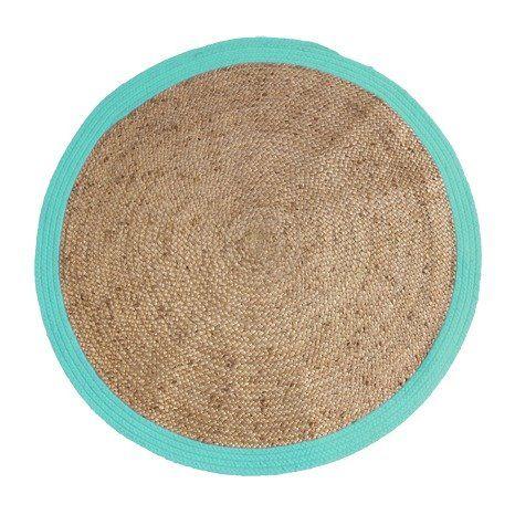 New HK living Teppich rund mit t rkisfarbenen Rand cm