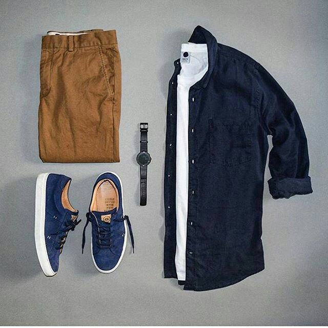 Men Fashion   Photo Blue Sneakers Outfit 95977ed322