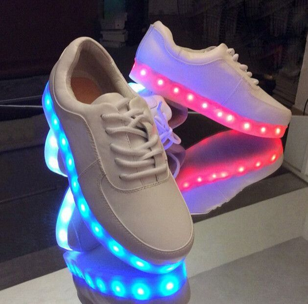 online store 0da2d c6968 Color white.black. Synthetic rubber sole. 100% brand new and high quality.  Material synthetic AND rubber. Fashion desigh with colorful LED light.  Note 1.
