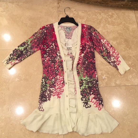 Women's Anthropologie Ruffle 3/4 Sleeve Cardigan Adorable brand new with tags Anthropologie floral cardigan sweater! Tabitha Sweaters Cardigans