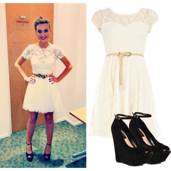 Celeb Fashion. Perrie Edwards (Zayn Malik's gf/Singer from Little Mix) Cute lace dress with black wedge heels!