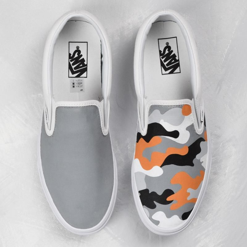 Tangerine camouflage slip on vans custom shoes | Fashion in