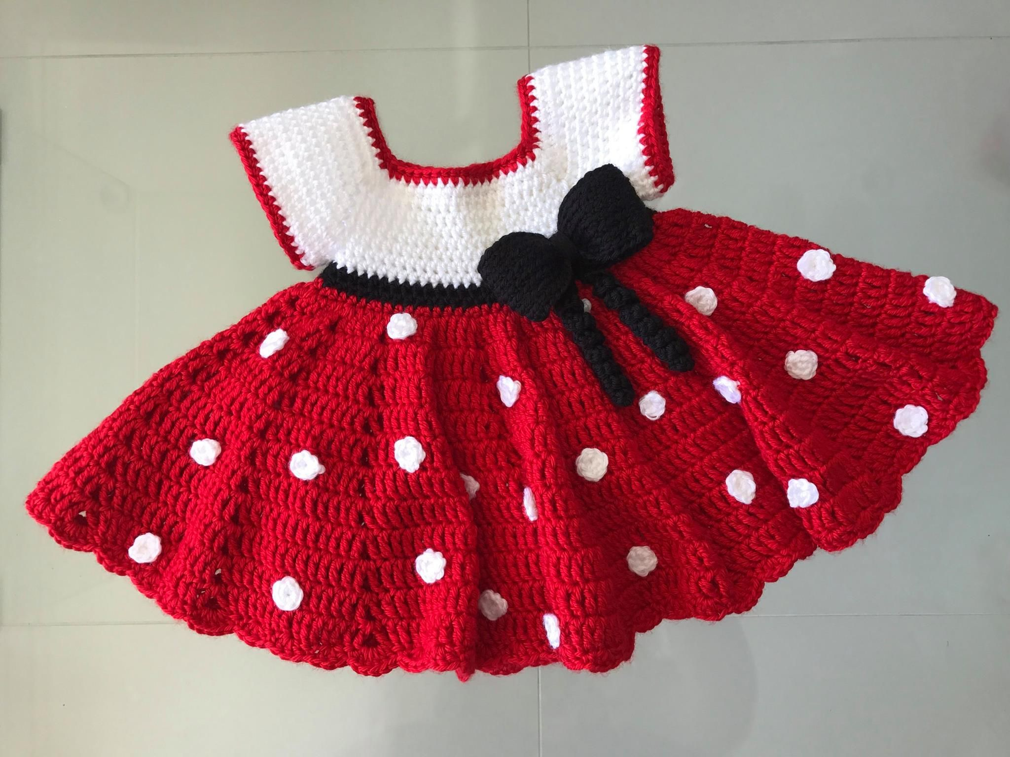 Mickey Mouse Inspired Baby Dress | Crochet Baby Dresses & Diaper ...