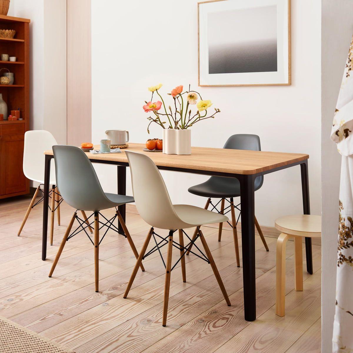 Vitra Aktionsset Eames Plastic Aspect Chair Dsw 4 Er Set Ahorn Gelblich Weiss Filzgleite In 2020 Eames Dining Chair Eames Chair Dining Room Eames Dining