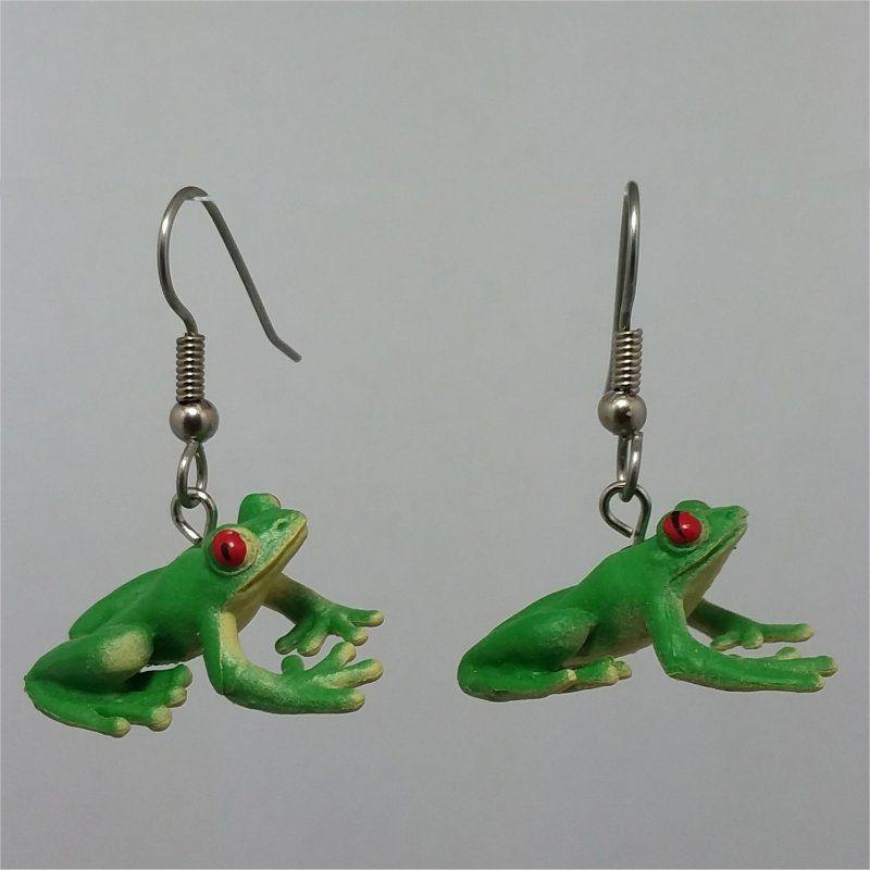 Frog Dangle Earrings 3d Animal Charm Earrings 316l Surgical Etsy In 2020 Cute Earrings Animal Charms Funky Earrings