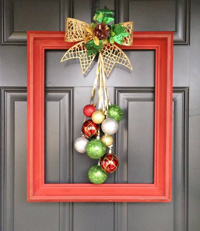 """Christmas Door Frame Decorations: This Is My DIY Front Door """"frame Wreath"""" That I Made For"""