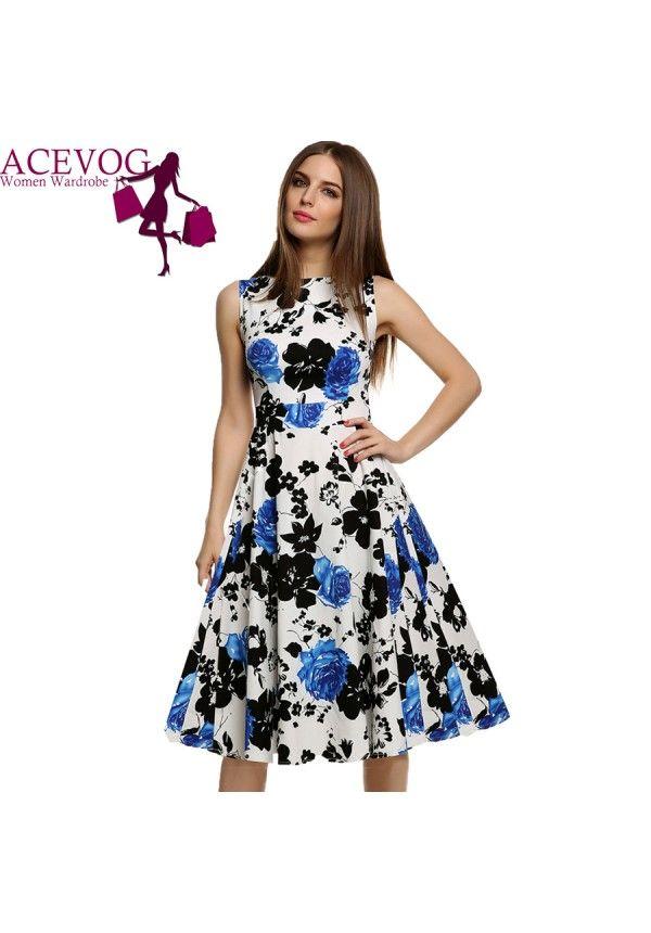 7c83b9e37 Vestido sin Mangas Acevog estampado flores para dama