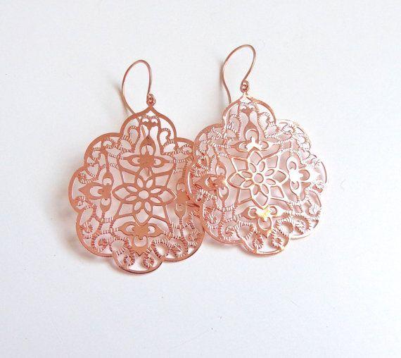 Rose Gold Filligree Dangle Earrings by LoveYourBling on Etsy, $16.00