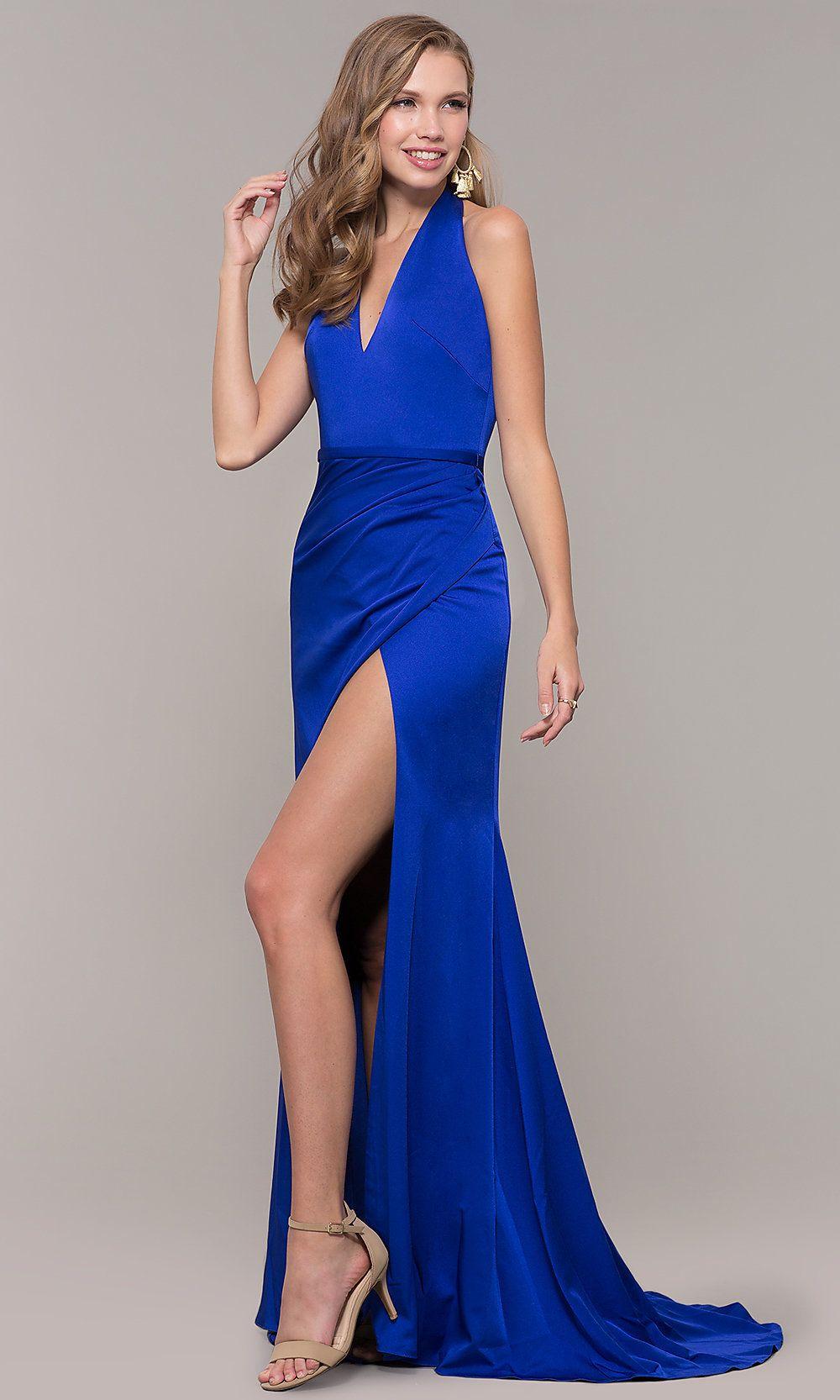 b33d7cf5e5b5 Side-Slit V-Neck Halter Long Prom Dress in 2019 | prom inspiration ...