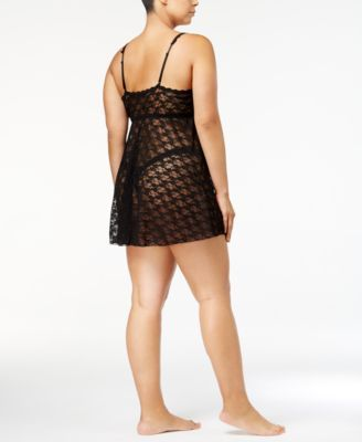 85f6a340f20b5 Hanky Panky Plus Size After Midnight Peekaboo Lace Babydoll and G-String  Thong 9C6814X - Black 1X