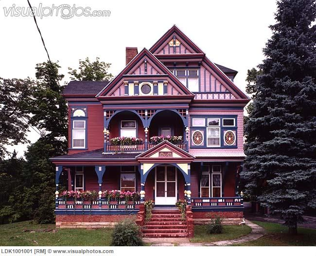 Colorful Victorian Homes Front Exterior View Of A