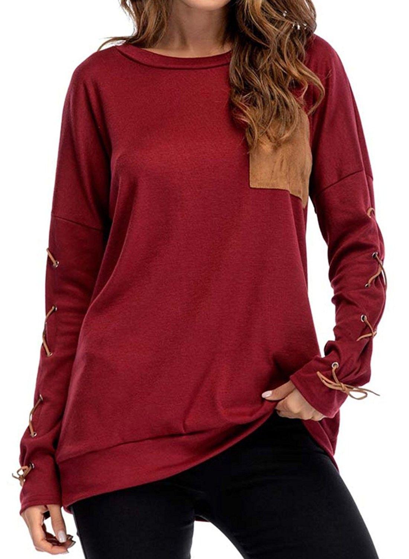 1cdcd75a3f2 Womens Criss Cross Long Sleeve Casual Crew Neck Pocket Sweatshirt Loose T  Shirt Blouses Tops - Wine - C81884O2L4C,Women's Clothing, Tops & Tees,  Tunics ...