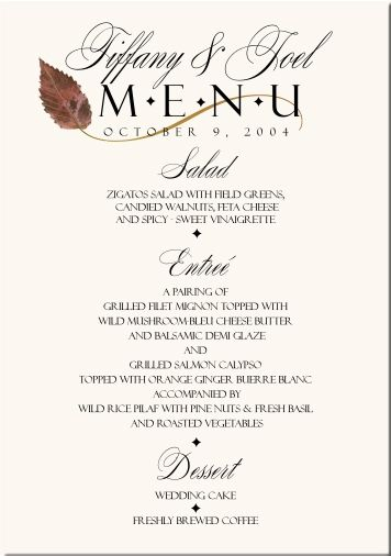 Sample Wedding Reception Menu Cards – Bernit Bridal