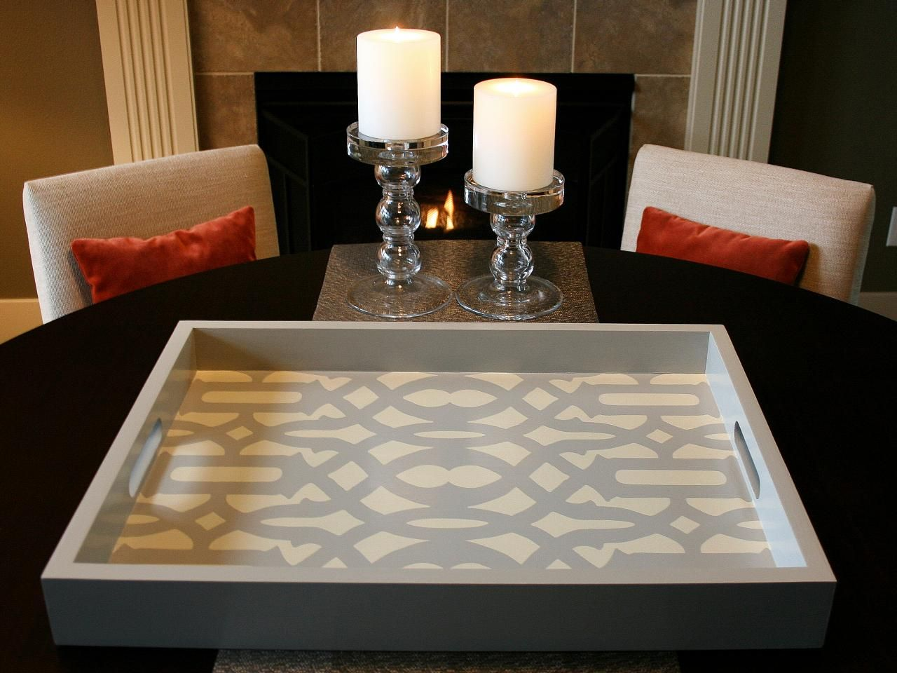 How to Stencil a Tray | Living Room and Dining Room Decorating Ideas and Design | HGTV