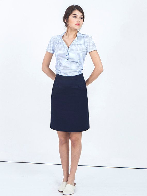 8953db9cd SALE navy blue skirt - blue midi skirt - short skirt - A line skirt - high  waisted skirt - knee length skirt - flared skirt