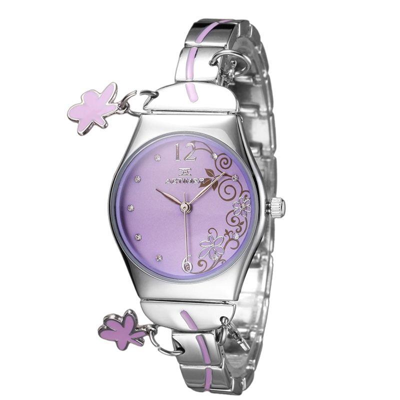 [$29.00] Purple Sweet Jelly Waterproof Students Bracelet Diamond Watch - Free Shipping