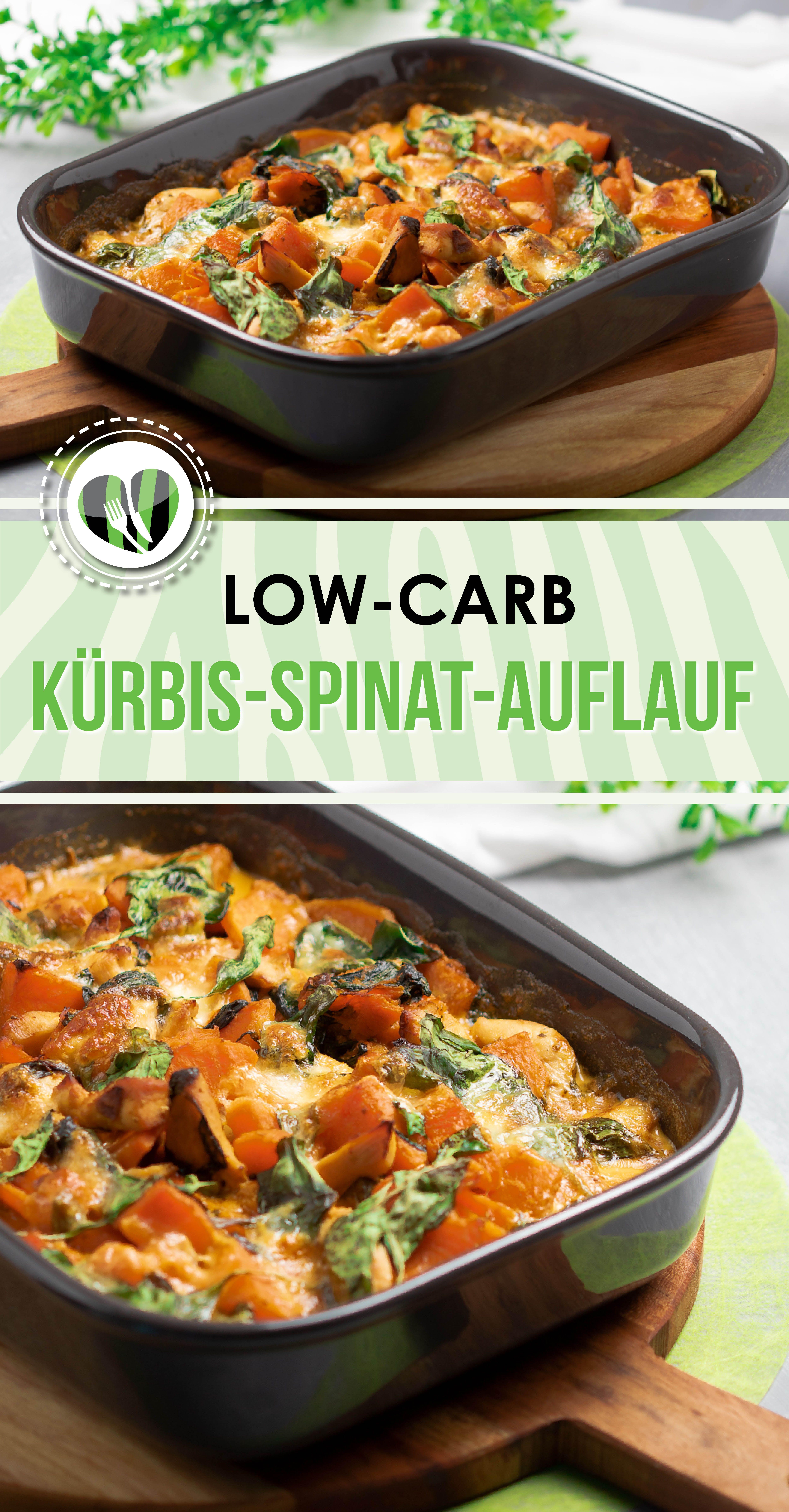 Der Kürbis-Spinat-Auflauf ist lecker Low Carb und glutenfrei und perfekt im Herbst. #lowcarbveggies