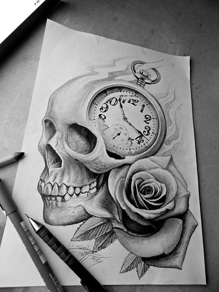 Skull Rose Clock Tattoo Design Tato Desain Ide