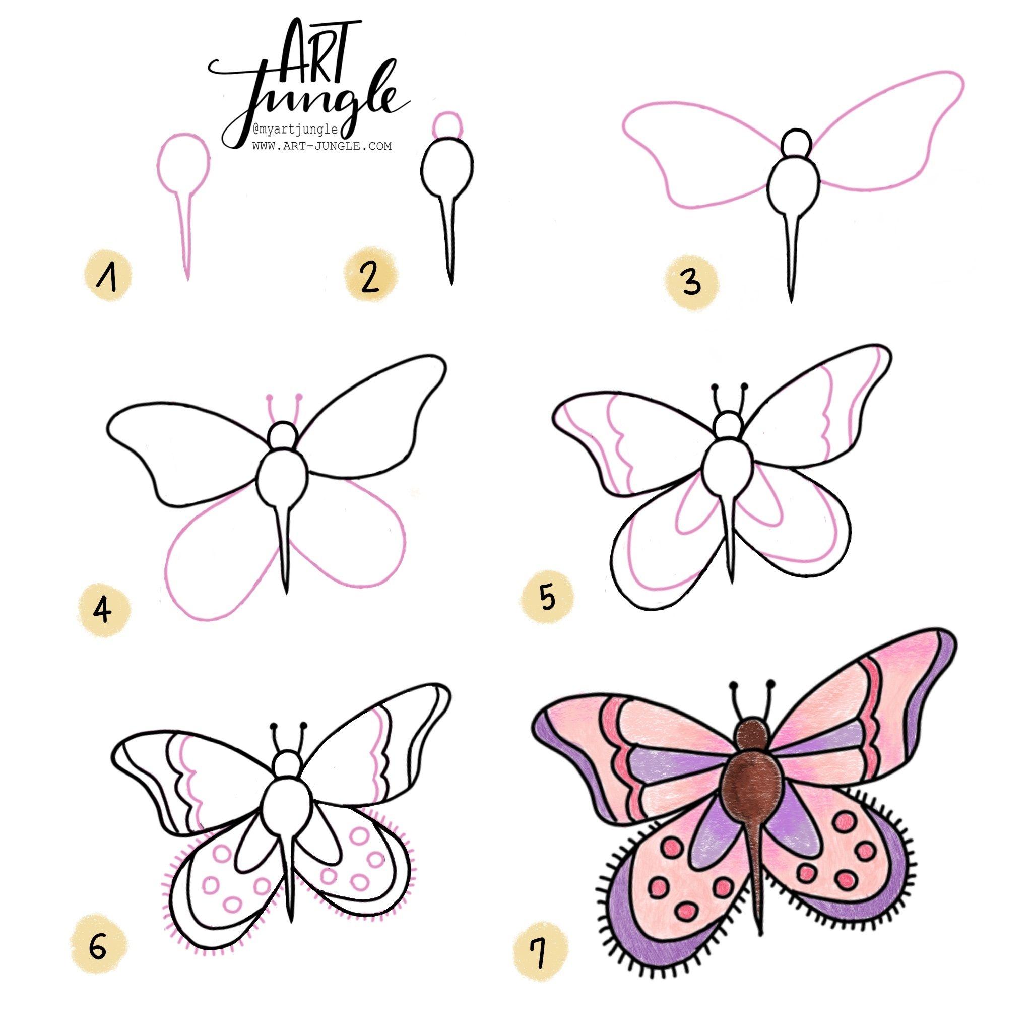 Einfach Malen Zeichnen Bullet Journal Und Sketchnotes Doodles How To Draw Malvorlage Einfach Zeichnen Schmetterlingszeichnung Schmetterling Zeichnen