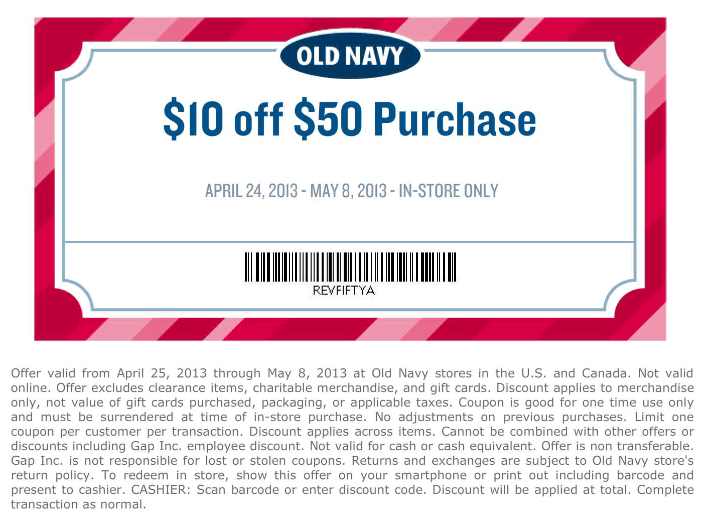 pinned may 4th: $10 off $50 at old navy coupon via the coupons app