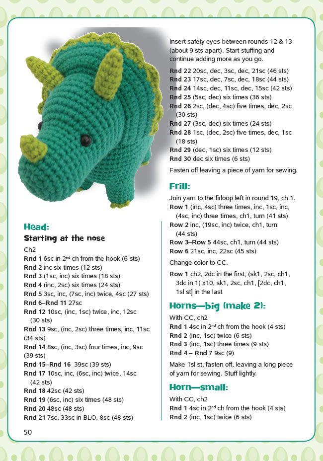 Dinosaur Amigurumi Triceratops | tejidos al crochet | Pinterest ...