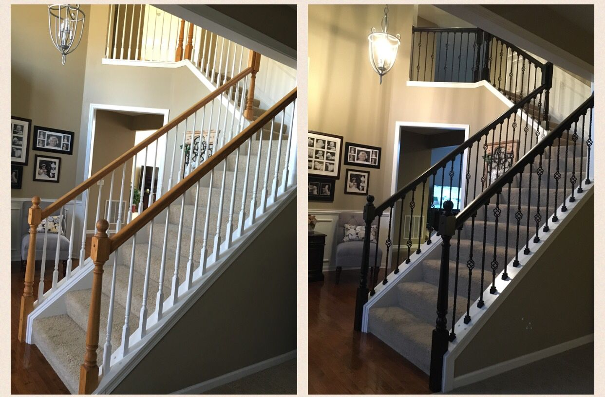 Best Oak Railings Sanded And Stained Espresso White Balusters Removed And Replace With Wrought Iron 640 x 480