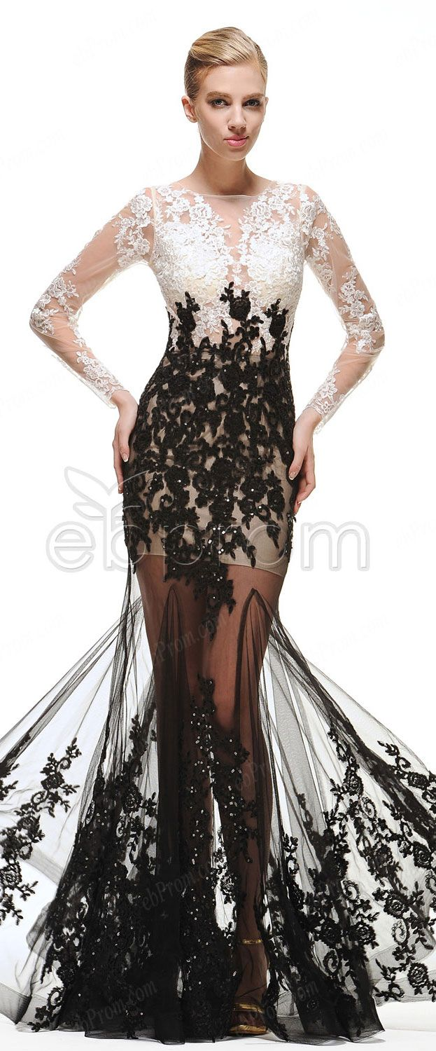 Black And White Mermaid Long Sleeves Prom Dresses See Through Sequins Appliques Evening Dresses Dresses Prom Dresses Prom Dresses Long With Sleeves