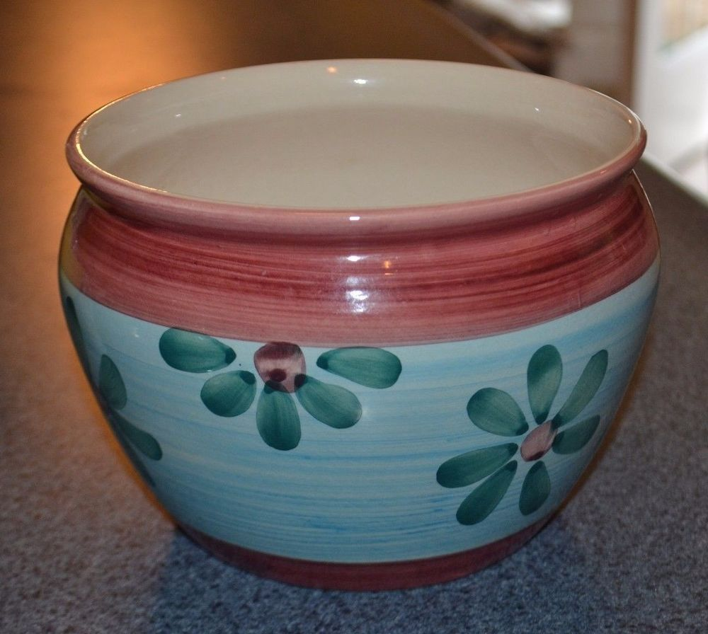 New England Pottery Planter Jardiniere Blue And Dusty Pink 5 In