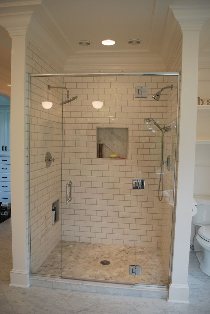 3x6 subway tile shower with hex carrera marble floor. Black Bedroom Furniture Sets. Home Design Ideas