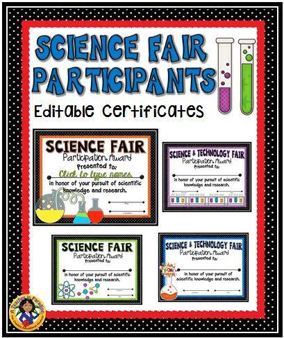 Science Technology Fair Participant Editable Certificates Science Fair Science Fair Projects Science Fair Awards