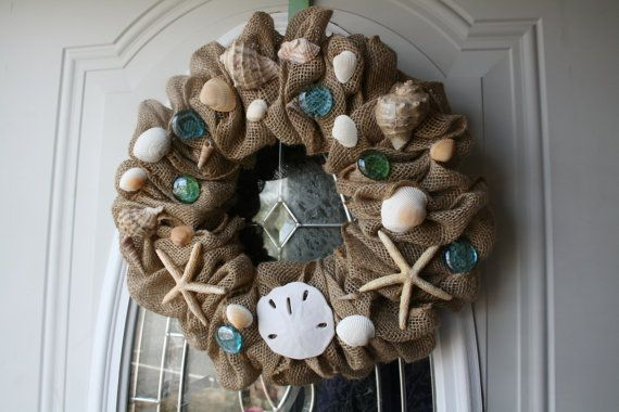 Burlap Seashell Beach Wreath by WhirlwindCreation on Etsy, $40.00