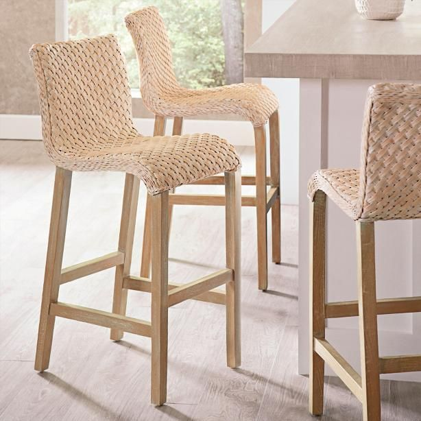 Pull Up One Of Our Gracefully Flowing Sanders Wicker Barstools And Get A New Feel For Texture Th Wicker Bar Stools Woven Bar Stools Bar Stools Kitchen Island