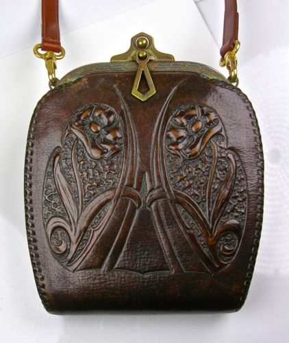 Photo of Details about Antique arts & Crafts Hand Tooled leather Purse W/Turnlock Art Nouveau 1910