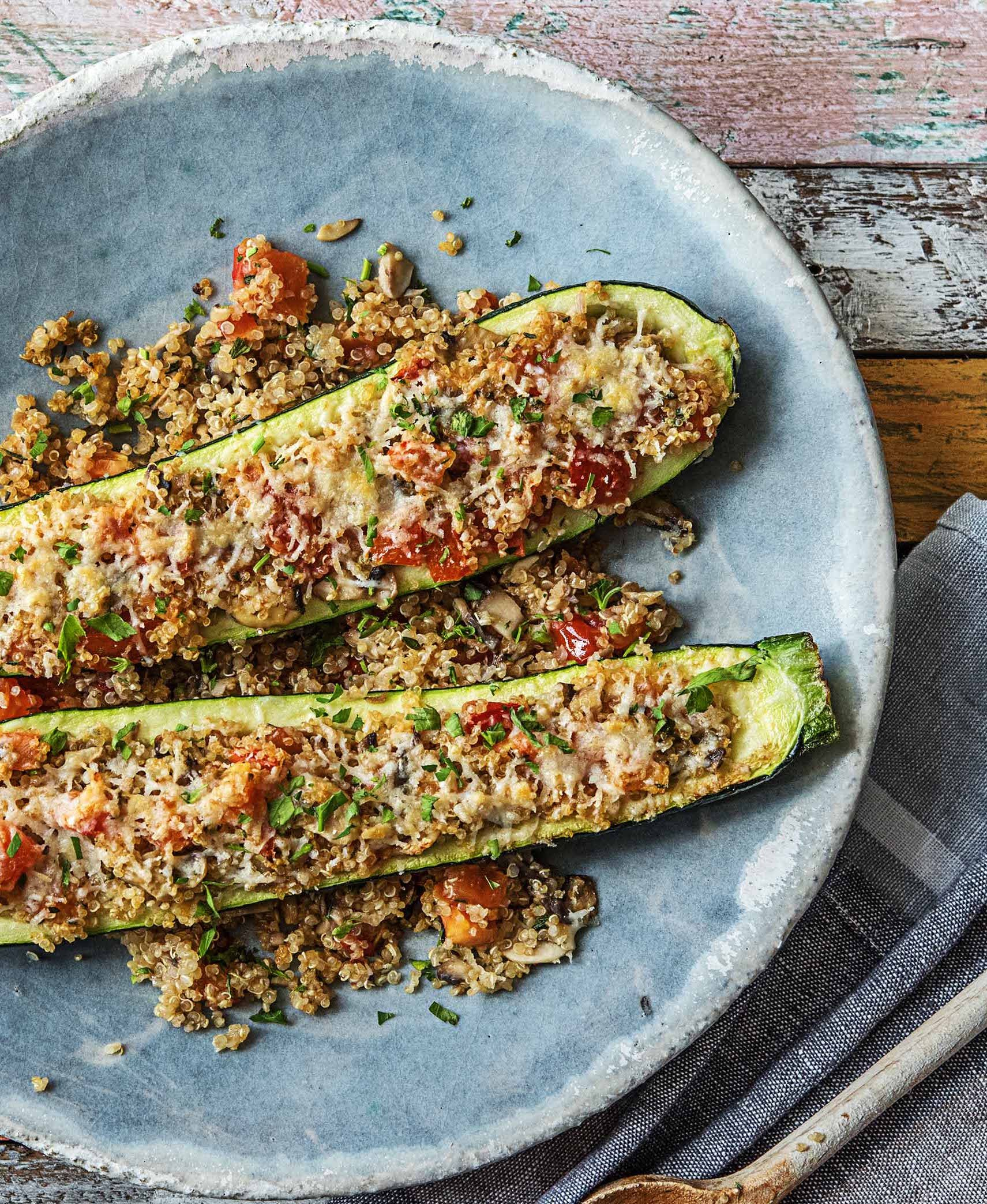 Rock The Zucchini Boat With Quinoa Parmesan And Mushroom Duxelles