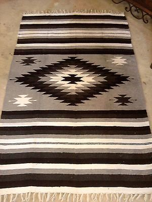 Mexican Aztec Zapotec Style Western Loom Woven Blanket Throw Rug Black White Ebay
